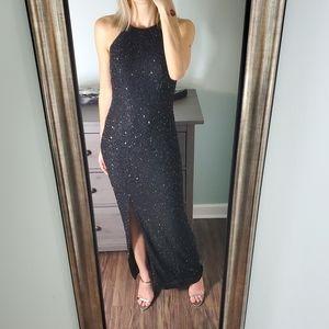 Jump Black Beaded Halter Neck Maxi Dress